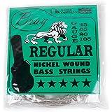 Cordes BRAY pour guitare basse 4 cordes (Tirant 45 - 105) - parfaites pour la guitare basse Fender, Gibson, Yamaha, Squier et Ibanez - sticker vinyle inclus