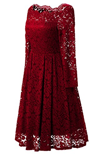 Gigileer Femme 50s Manches Longues Ddentelle Vintage Floral Bateau Cou Swing Cocktail Robe Rouge