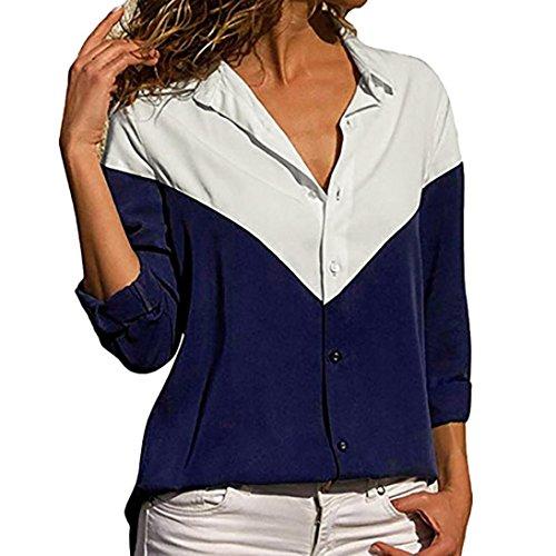 Bluse Damen beiläufige Lange Hülsen Farben Block Streifen knöpfen T-Shirt Blusen Oberteil Tops Shirt Damen Herbst Langarmshirt Lose Hemd Tunika -