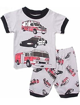 Backbuy Chicos Pijamas Sets Niños Verano 2 Piezas Pijamas Niños 100% Algodón Manga Corta Camión de Bomberos Baby...