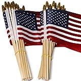 Anley Lotto di 50USA 4x 6in Legno Stick Flag-July 4th Decorazione, Veteran Party, Grave Marker, ECC.-palmare Bandiera Americana con Kid Safe Golden Spear Top (Confezione da 50)