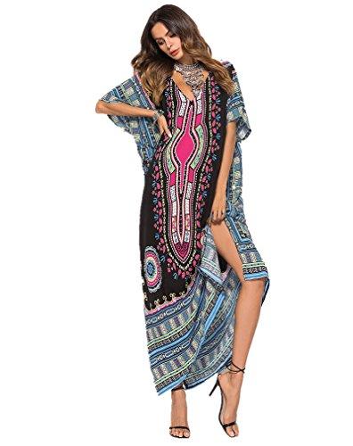 Passme abito lungo estivo donna floreale stampato scollato v copricostume mare caftano elegante vestiti cerimonia bikini cover up taglie forti (colore 4)