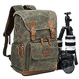 Zaino Casual per Fotocamera/Reflex di Tasca,Zaino Laptop per Fotografica,Borsa Impermeabile per Foto DSLR/Treppiede Accessori,Zaino Antifurto di Viaggio per Canon Nikon Sony Olympus(Amy green)