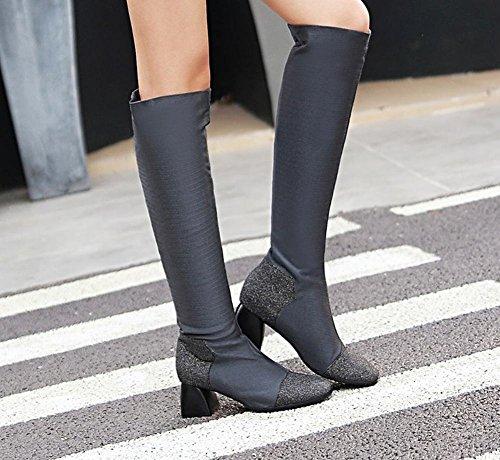 MissSaSa Donna Scarpe col Tacco Metà Elegnate e Affascinanate Boots Grigio