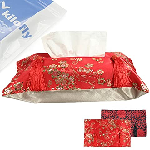 kilofly Decorative Silk Brocade Rectangular Tissue Box Cover, Value Set