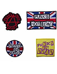 Set of 4 Punks Not Dead Sew On Patches