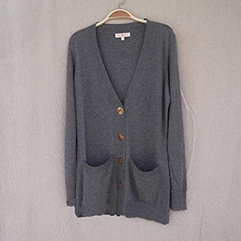 XJoel Donne Boyfriend Cardigan Jacket Pocket Accogliente Keep It Classic Cardigan grigio L