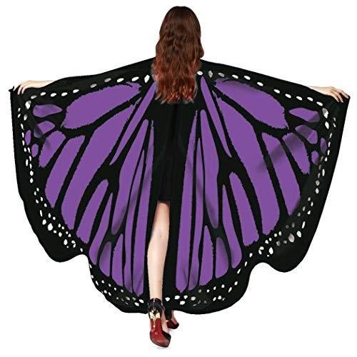 Zolimx Kostüm Damen Fasching Schmetterling Weicher Gewebe Flügel Schal, Nymphen Pixie Cosplay Kostüm Zusatz Umhang Mittelalter Kostüme Kleid (Lila-Q1)