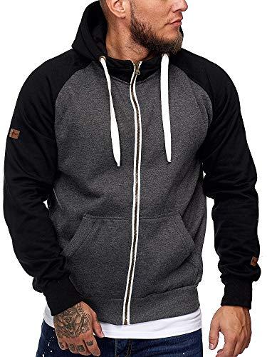 OneRedox Herren Warmer Hoodie Kapuzenpullover Longsleeve Sweater Sweatshirt Zip Jacke PulliModell B17 Antrazit XL -