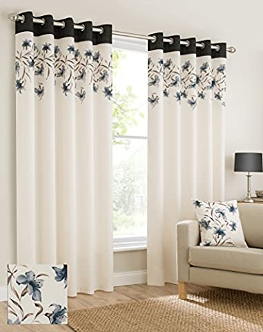 Plain faux silk look eyelet ring top black cream brown fully lined curtains lily flowers floral leaves 46x72 inches 117cmx183cm drop eyelet ring top ready