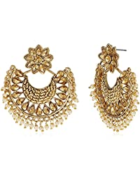 Zaveri Pearls Drop Earrings for Women (Golden)(ZPFK7170)