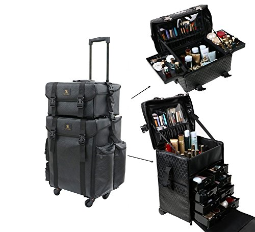Malayas2 en 1 Valise Maquillage Professionnel Beauty Case Trolley Malette Maquillage Trolley...