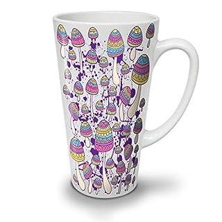 Artsy Mushroom Head Funny White Ceramic Latte Mug 17 oz | Wellcoda