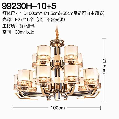 Neue chinesische Kronleuchter Kupferlampe Retro-Wohnzimmer-Schlafzimmer-Villa Speisesaal Kronleuchter chinesische schwarze kreative dekorative Beleuchtung, 15 D1000 * H715