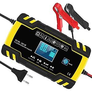 Yomao Ladegerät Autobatterie 8A 12V/24V KFZ Batterieladegerät Vollautomatisches Intelligentes Erhaltungsladegerät mit LCD-Touchscreen für Auto, Motorrad, Rasenmäher oder Boot (Batterien von 6Ah-150Ah)