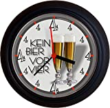 Lucky Clocks BIERUHR KEIN BIER VOR VIER 4 PILS GEBURTSTAG originelle lustige Wanduhr für Biertrinker Pilstrinker Pilsfans Bierfans für jeden Anlass neutral