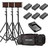 Neewer 3-Paquete Kit Iluminación 280 LED Bicolor Regulable e Iluminación Stand con Bacteria,Cargador USB y Bolsa de Transporte-3200-5600K,Panel CRI 95+LED para Cámara Foto Estudio,Grabación de Video