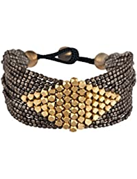 81stgeneration Black Gold Messing Diamant Muster Kleine Facettenperlen Armband