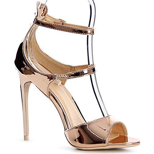 topschuhe24 1134 Damen Riemchen Sandaletten Pumps Sandalen Party Rose Gold