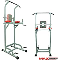 Multiestación de gimnasia de Maxstrength, con levantamiento vertical de rodilla, para hacer dips, lagartijas, ejercicios de dominada y otros ejercicios para ejercitar el cuerpo