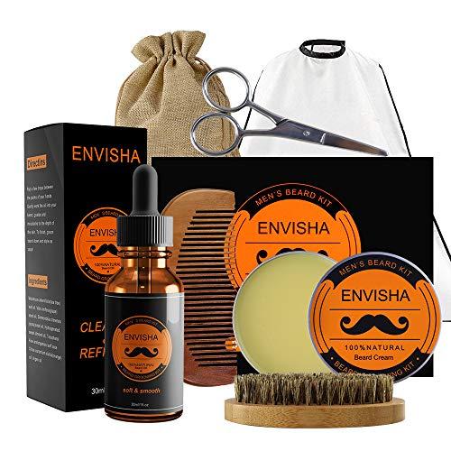 Beard Balm Set KOKOBI Beard Grooming Kit for Men-7 in 1 Beard Trimmer  Includes- Beard Oil, Balm, Brush, Comb, Mustache Scissors, Beard Bib,  Storage