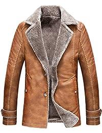 9374d06807830 WSAZM Herren Winter Klassische Freizeit Warm Schaffell Leder Pelz Fur  Mäntel Jacken Parka Retro Mode…