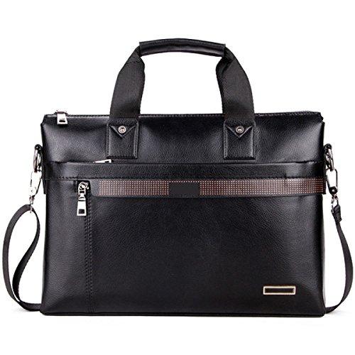 Yy.f Männer PU-Leder-Business-Aktentasche Große Kapazität Schulter Messenger Bag Große Handtasche Klassische Praktische Arbeitspaket Geschäftsreise Computer Tasche (schwarz Und Braun) Black
