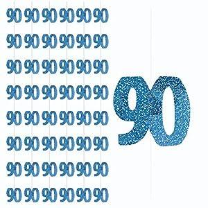 Gifts 4 All Occasions Limited SHATCHI-1124 Shatchi-6 x 90TH - Guirnalda de decoración para fiesta de cumpleaños, diseño de hito metálico, color azul