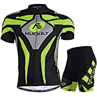 NUCKILY Men Cycling Suits Short Sleeve Bicycle Jersey and Shorts Set Summer X-Large