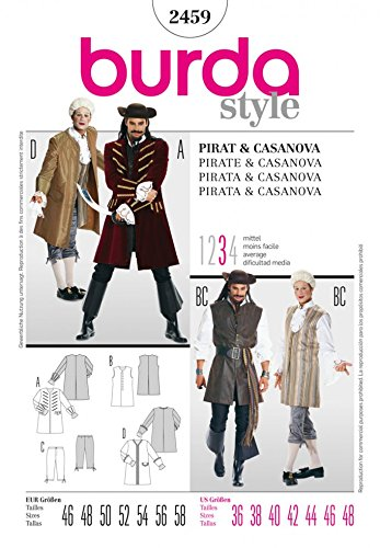 Burda Damen Schnittmuster 2459, Kostüm Pirat und Casanova, Größe:  46-58
