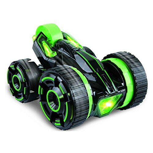 SZJJX 5 Wheels Race Stunt Automobile 2WD Distant Management RC Automobile with LED Headlights Excessive Excessive Pace 360 Diploma Rolling Rotating Rotation Inexperienced
