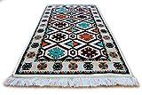 Damaskunst Teppich 65cm x 120 cm Weiß,Ekru,Grün,Türkis,Schwarz, Weinrot,Orange,Kelim Orient,Wand Teppich,Carpet, Rug,Waschbar, RS 1-2-05