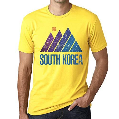 One in the City Hombre Camiseta Vintage T-Shirt Gráfico Mountain South Korea Amarillo