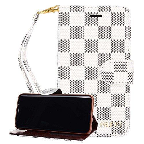 Galaxy S8Plus Fall, gx-LV Luxus Retro [Kartenfächer] [Reißverschluss Design] [Abnehmbare] [2in 1] Multifunktions Leder Wallet Schutzhülle Handtasche für Samsung Galaxy S8Plus, B-White