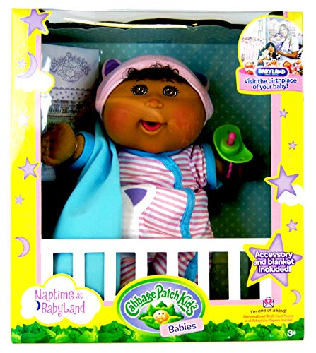 Cabbage Patch Kids Babies - Napetime at Babyland - African-American Baby Girl Doll with Cat Jumper 12.5 inch / ca. 32 cm (American Girl Doll Jumper)