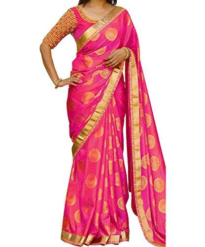 Isha Enterprise Women's Silk Jacquard Thread Work Saree (Pink)