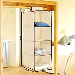 PINDIA Non-Woven Cloth Hanging Storage Wardrobe, 4 Layers, Cream (SRW3000136)