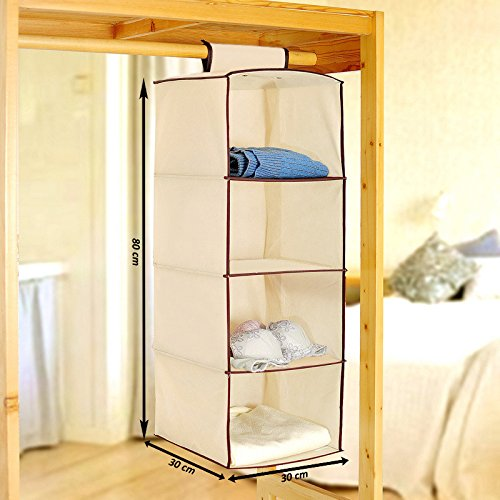 PINDIA Non-Woven Cloth Hanging Storage Wardrobe, 4 Layers, Cream (SRW3000136)