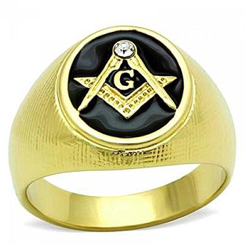 ISADY - Miquel - Herren-Ring - 585er 14K Gold platiert - Franc-maçonnerie - Freimaurer - Tempelritter - Zirkonium und Email schwarz - T 67 (21.3) - Diamant Ringe Freimaurer