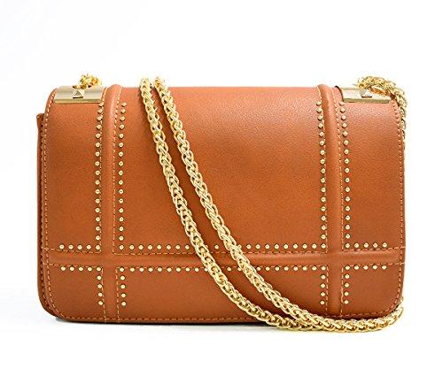 CRAZYCHIC - Damen Nieten Tasche - Kleine Umhängetasche - Kettenhenkel Handtasche - Gold Kette Schultergurt - Kettentasche Leder imitat Schultertasche - Gesteppt Klappe Mode Luxus Clutch - Kamel (Handtaschen Billig Designer)