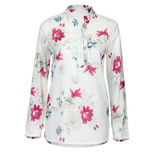 OverDose Damen Blumen Spitze Tops Frauen Kurzarm V-Ausschnitt Spitze Gedruckte Lose T-Shirt Bluse Oberteile Tees Shirt(X-a-Weiß,EU-48/CN-4XL)