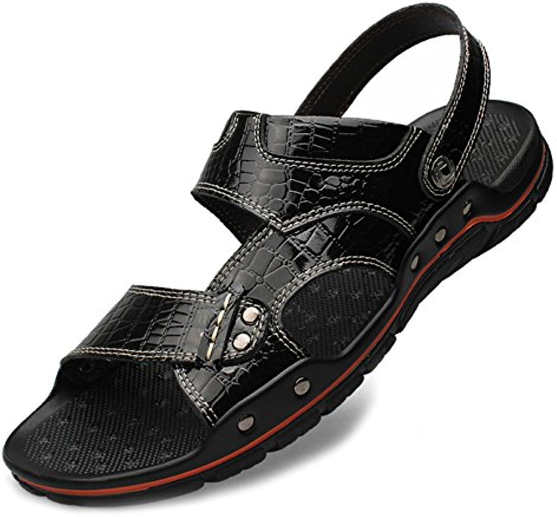 Männer Große Größe Leder Sandalen Casual Hausschuhe Athletische Flip Flops Outdoor Slip on Offene Spitze Wandern