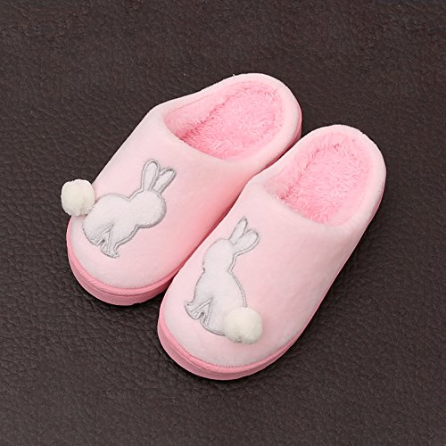 DogHaccd pantofole,Il cotone pantofole donna fondo spesso bambini cartoon inverno boys home caldo inverno indoor pantofole di peluche carino Rosa