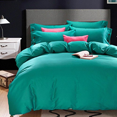 XYY Reine Farbe Einfache Baumwolle Ebene König Königin Bettdecke Schlafzimmer Home, 4, Queen (Hotel-bettwäsche-satz)