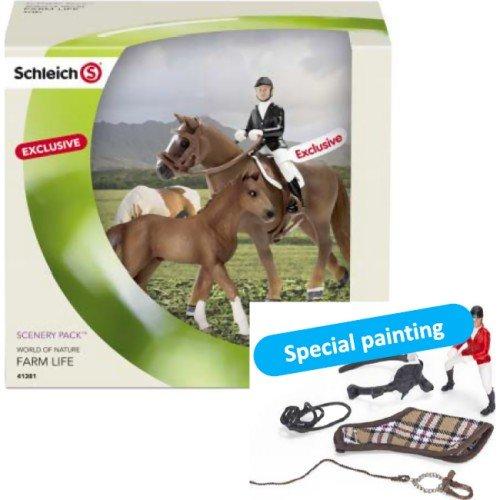 Scenery Pack Springreiten (Set Pferd, Fohlen, Reiter und Tack) -