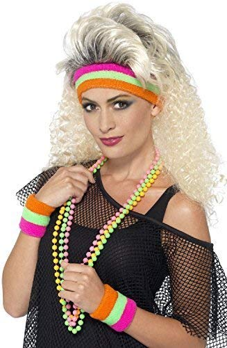 Ladies or Gents Orange, Green and Pink Neon 80s Exercise Sweatbands Set