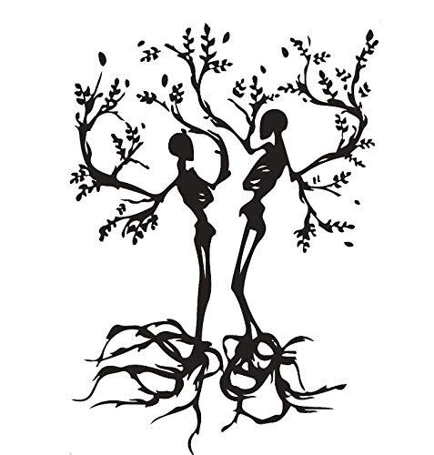 Persönlichkeit Paar Skull Love Bäume Wohnzimmer Vinyl Carving Wand Aufkleber Aufkleber für Halloween Party Home Dekoration