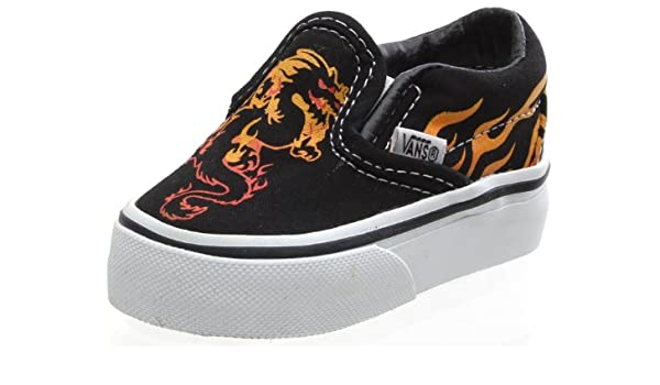 e13676e1e5 Vans Classic Slip On (Dragon Flame) Black Red True Yellow Toddler Shoe  55175 (Toddler 3.5)  Amazon.co.uk  Shoes   Bags