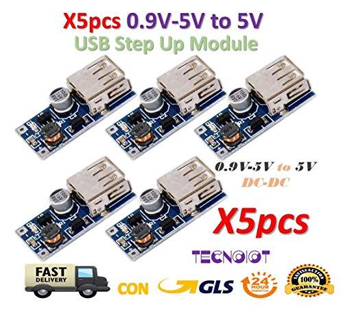TECNOIOT 5pcs 0.9V-5V DC-DC to 5V USB Voltage Converter Step Up Power Supply Module | 5pcs DC-DC 0.9V-5V à 5V Convertisseur de Tension USB Booster Module d'alimentation -