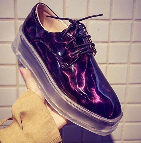 Beauqueen Art und Weise neuer Spiegel-obere transparente Fersen-Aufzug-Müßiggänger-Plattform-Leder-runde-spitze-beiläufige Partei-Schuhe EU-Größe 34-39 Purple